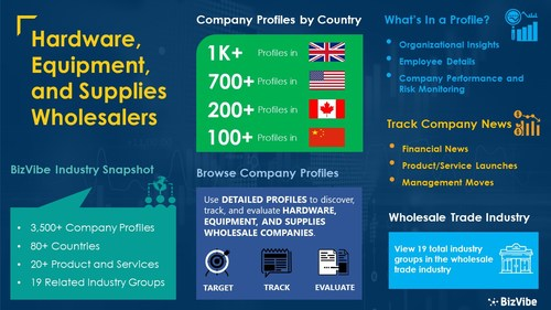 Snapshot of BizVibe's hardware, equipment, and supplies wholesalers industry group and product categories.