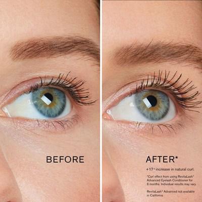 Efeito curvo da RevitaLash Cosmetics antes e depois