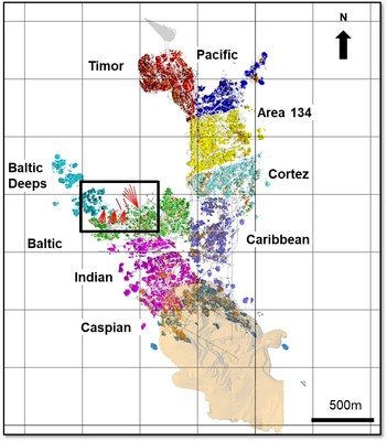 Figure 1: Mineralized Zones at Plutonic Underground (Plan View) (CNW Group/Superior Gold)