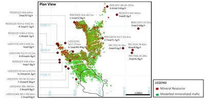 Figure 5: Plutonic Historical Significant Intercepts and Targeted New Mining Fronts (Plan View) (CNW Group/Superior Gold)