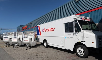 Purolator announced the launch of fully electric curbside-delivery trucks – the first to be launched nationally by a Canadian courier company – and electric–cargo bikes (e-bikes) in Vancouver. These new vehicles expand Purolator's fleet of eco-friendly vehicles already in use on the streets of Montreal and Toronto. (CNW Group/Purolator Inc.)