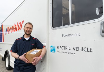 Purolator announced the launch of all electric 18-foot delivery vehicles in Vancouver. (CNW Group/Purolator Inc.)