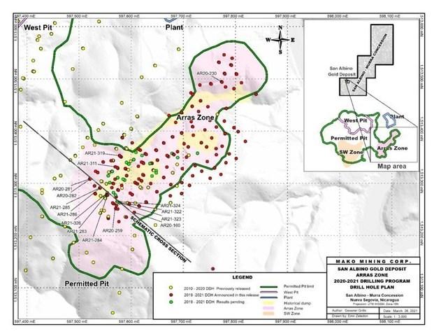 SAN ALBINO GOLD DEPOSIT DRILL HOLE PLAN (CNW Group/Mako Mining Corp.)