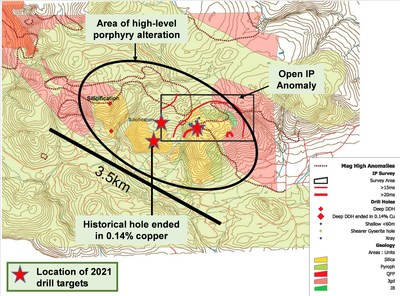 Figure 1: Pemberton Hills Alteration Including 2021 Planned Drill Holes (CNW Group/NorthIsle Copper and Gold Inc.)