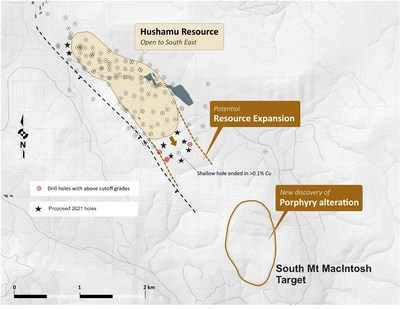 Figure 4: Hushamu Resource Location with Proposed 2021 Drill Holes (CNW Group/NorthIsle Copper and Gold Inc.)
