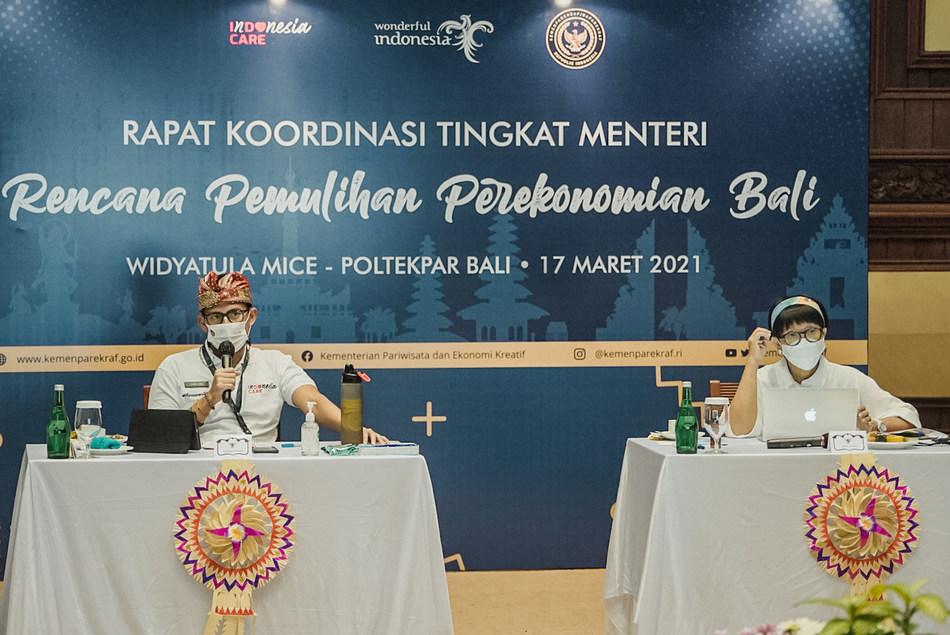 Indonesian Minister of Tourism and Creative Economy, Sandiaga Salahuddin Uno; and Minister of Foreign Affairs, Retno Marsudi.
