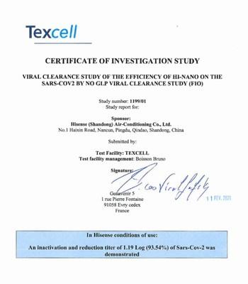 A Texcell verificou o efeito inibitório sobre o novo coronavírus (SARS-CoV-2) da tecnologia HI-NANO da Hisense. (PRNewsfoto/Hisense)