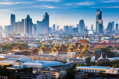 The Golden Grand Palace of Bangkok. with skyscraper view of cityscape at sunrise time. The most favorite landmark of travel destination of asia. Best of amazing beautiful scene of Thailand.