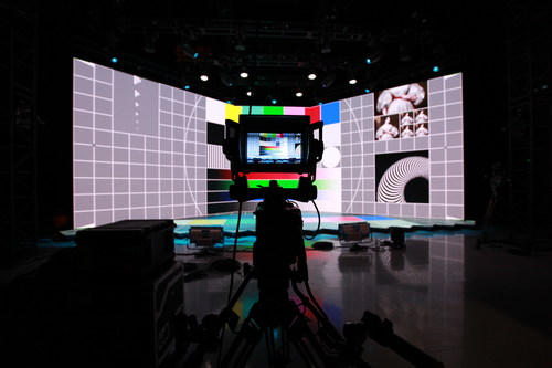 LED stage with test screen at PRG Digital Studio, Chicago