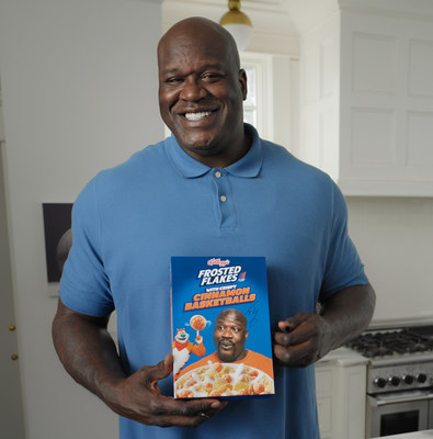 Tony the Tiger® teams up with Kellogg's Frosted Flakes® superfan and legendary Hall of Famer Shaquille O'Neal to bring fans a breakfast that's a slam dunk: Kellogg's Frosted Flakes® with Crispy Cinnamon Basketballs. (Photo credit: Kellogg Company)