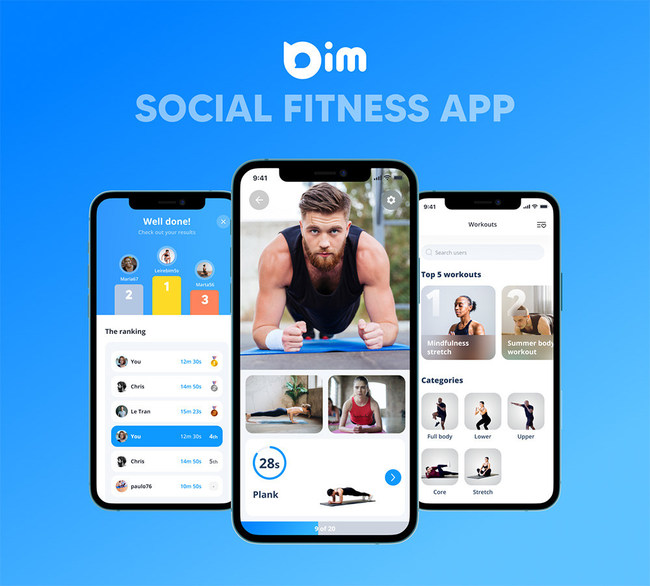 """Bim Tech is proud to launch """"Bim - Social Fitness App"""", a game-changing social fitness app that revolutionizes home workouts by enabling friends, communities, and coaches to remotely work out together with multi-user video. Available now for iPhone."""