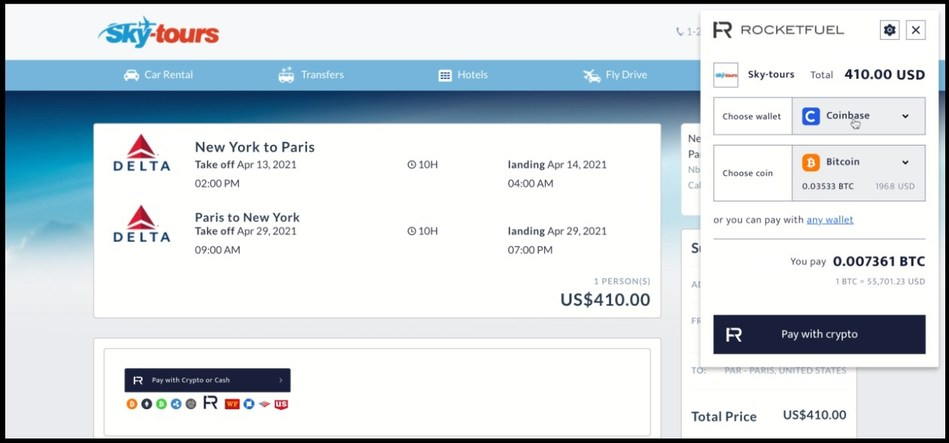 Check-out screenshot using RocketFuel to book travel on Sky-tours.