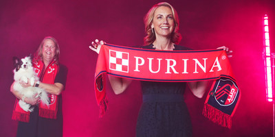 (L-R)  Nina Leigh Krueger, Nestlé Purina PetCare CEO & President, and Carolyn Kindle Betz, St. Louis CITY SC CEO, announce Purina as St. Louis CITY SC's first founding partner and jersey sponsor on March 31, 2021. (PRNewsfoto/Purina)