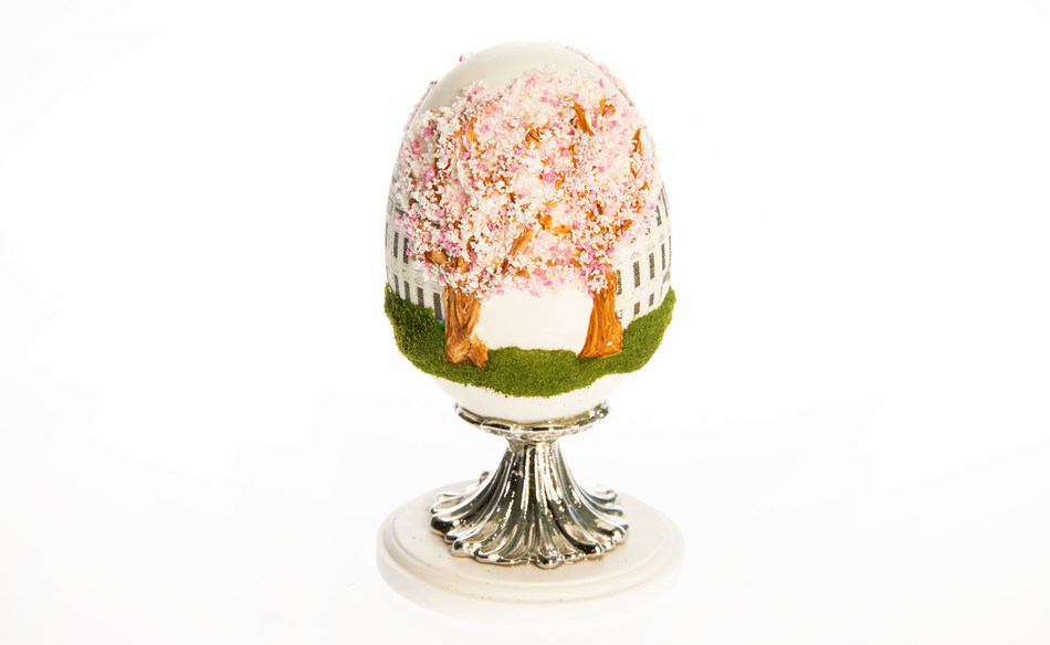 The 2021 First Lady's Commemorative Egg for Dr. Jill Biden presented by the American Egg Board on behalf of America's egg farmers includes intricately designed cherry blossoms symbolizing hope and renewal. Photo Credit: The American Egg Board