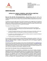 Africa Oil Annual General and Special Meeting to be Held on April 20, 2021 (CNW Group/Africa Oil Corp.)