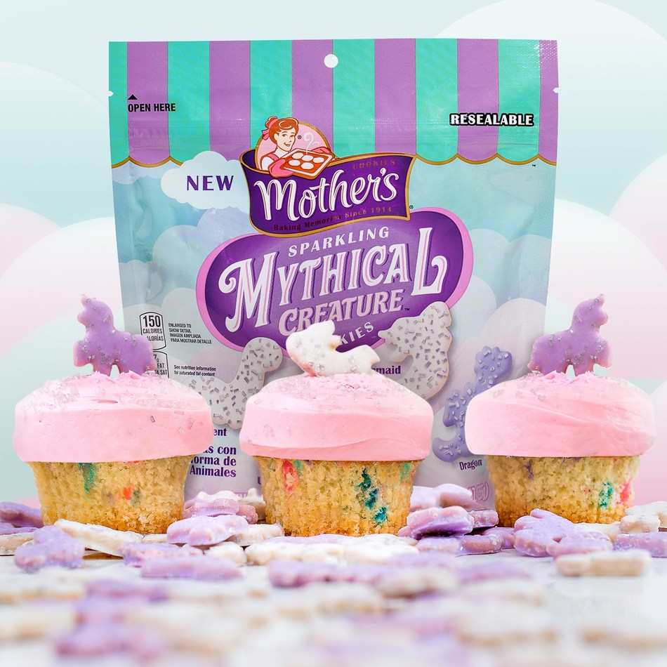 Mother's Sparkling Mythical Creatures Cookies pictured with The Mythical Creature by Mother's Sprinkles cupcake.