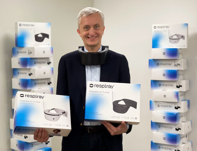 Respiray's founder Indrek Neivelt demonstrating the first batch sent to seven European countries