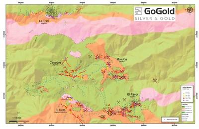 Figure 1: Plan View – La Trini to El Favor Area of Los Ricos Nort (CNW Group/GoGold Resources Inc.)