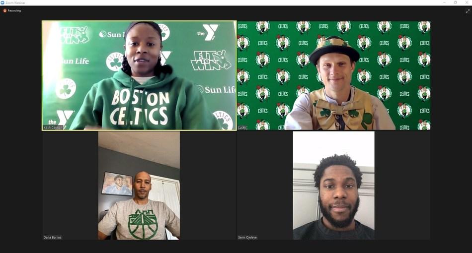 From top left, clockwise: Celtics community engagement coordinator Kash Cannon, Celtics mascot Lucky the Leprechaun, Celtics power-forward Semi Ojeleye, Celtics legend Dana Barros.