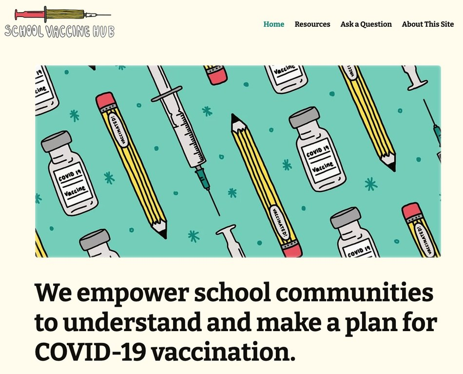 Preview of the School Vaccine Hub, created by Brooklyn LAB in collaboration with leading education, public health, and media organizations