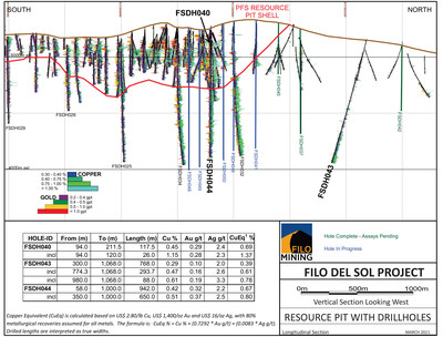 Filo Mining Resource Pit-Shell, North-South with Drill Holes (CNW Group/Filo Mining Corp.)