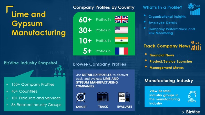 Snapshot of BizVibe's lime and gypsum manufacturing industry group and product categories.