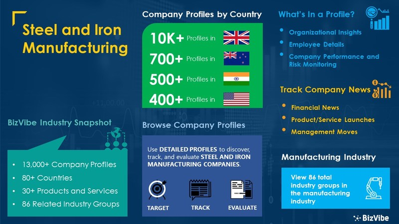 Snapshot of BizVibe's steel and iron manufacturing industry group and product categories.