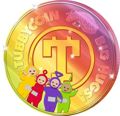 """TubbyCoin from WildBrain Labs is a new virtual system that employs cutting-edge cryptographology to convey the inherent value of Big Hugs! in the form of exchangeable TubbyCoin """"BigHugs!"""" Tokens, featuring Tinky Winky, Laa-Laa, Dipsy and Po. (CNW Group/WildBrain Ltd.)"""