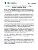 Inter Pipeline Modifies Shareholder Rights Plan To Support Strategic Alternatives Review (CNW Group/Inter Pipeline Ltd.)