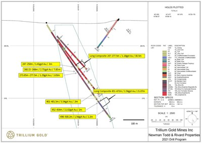 Figure 2: Section for hole NT20-178 showing significant mineralized intersections. (CNW Group/Trillium Gold Mines Inc.)