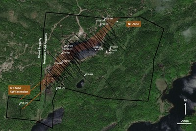 Figure 5: Drillhole location plan showing all holes drilled on the Newman Todd property. All 2020 drillholes are labelled. (CNW Group/Trillium Gold Mines Inc.)