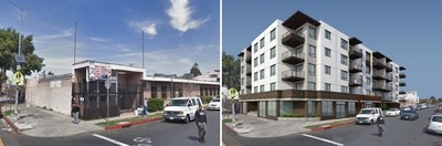 Before (left): Current view of South Los Angeles property owned by Heavenly Vision Missionary Baptist Church. After: Rendering of the future 60-unit permanent supportive housing development.