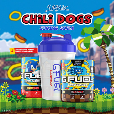 Developed in partnership with SEGA® of America, Inc., G FUEL Sanic Chili Dogs will be available to buy for customers in the U.S. and Canada as a limited-edition Sanic Bundle, which includes a 40-serving Sanic Chili Dogs tub, 16 oz Sanic shaker cup, and an additional 40-serving Sonic's Peach Rings tub add-on. Join the pre-order waitlist at gfuel.com/sanic-chili-dogs before the waitlist closes forever at 3:00PM ET on April 2nd, 2021.