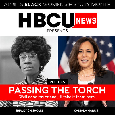 Former Vice Chair of the House Democratic Caucus, Shirley Chisholm, alongside Vice President, Kamala Harris