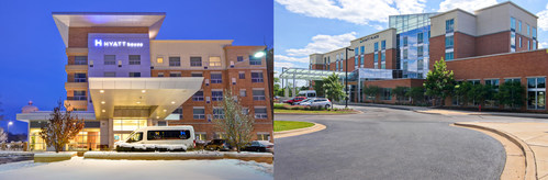 The Hyatt House Chicago/Naperville/Warrenville (left) and Hyatt Place Chicago/Naperville/Warrenville (right) provide guests visiting the western Chicago suburbs with various offerings to ensure every party can be catered to.