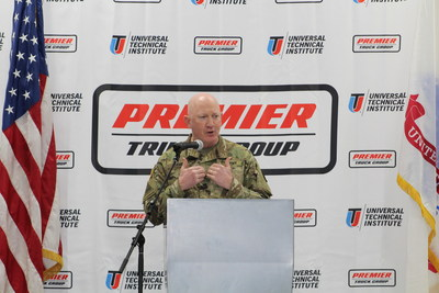 """Colonel Stuart James addresses the graduating class of the Premier Truck Group Technician Skills program at Fort Bliss. """"It is critical that we take care of the men and women who have selflessly taken care of our country,"""" said James. """"We need to take care of the soldiers not only when they are in the Army but when they leave, to have partners like Premier Truck Group and Universal Technical Institute to help our transitioning service members succeed in their next career is wonderful."""""""