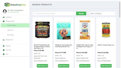 The GreenDropShip app allows Shopify merchants to find products and add them to their online store in just one click.