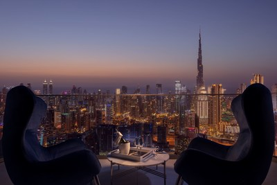 An evening view from the newly opened SLS Dubai Hotel and Residences.