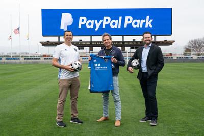 San Jose Mayor Sam Liccardo, PayPal President and CEO Dan Schulman and Quakes COO Jared Shawlee