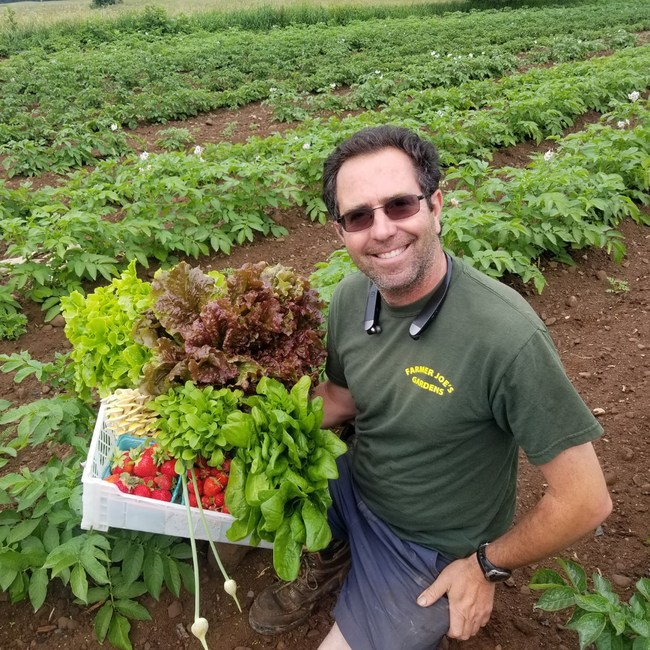 Farmer Joe outstanding in his field - holding a June basket picked at the peak of flavor