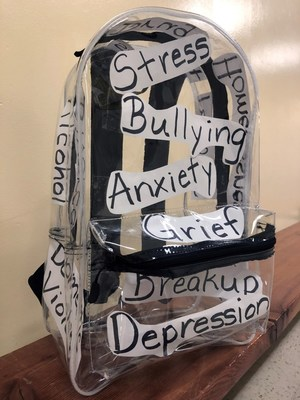 """Nordahl uses an """"invisible backpack"""" to acknowledge the emotions that students carry around, even if they can't be seen on the outside. It reminds students that Cameron's Collection is there to help."""