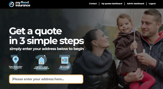 In three simple steps users can get instant flood insurance quotes.