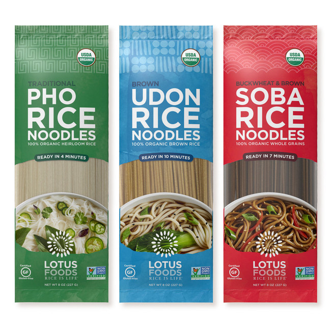 Lotus Foods, the leading heirloom and organic rice company, is excited to bring Asia's most popular noodles to American kitchens, now gluten-free and made with organic and whole grain rice. The company has expanded its top-selling line of organic rice noodles to include Pho, Udon and Soba, rounding out a full array of convenient Asian noodle options.