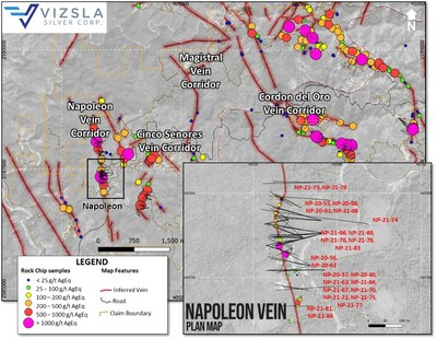 Plan map showing location of drill holes, mapped veins and surface sampling at the Napoleon zone on the Napoleon Vein Corridor.  Labels shown for reported holes.  Inset shows detail of Napoleon's drill collar locations. (CNW Group/Vizsla Silver Corp.)
