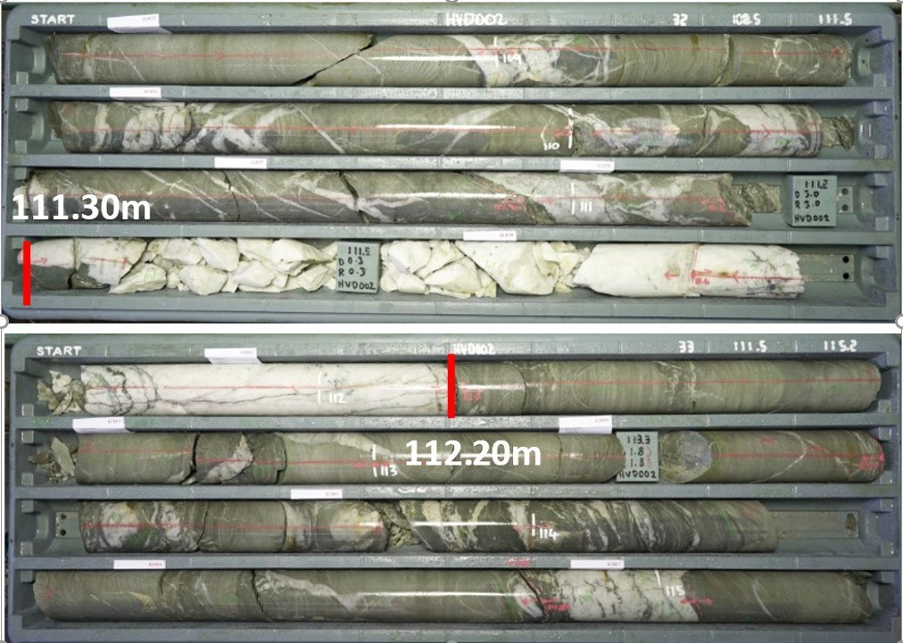 Figure 5 - HVD002 (111.30m – 112.20m) showing zones containing visible gold mineralisation (CNW Group/E79 Resources Corp.)