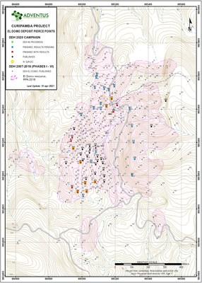 ADZN (tsxv), ADVZF (otcqx) - El Domo Deposit, Curipamba Project - Drill Collar Map (April 1, 2021) (CNW Group/Adventus Mining Corporation)
