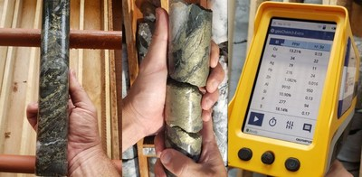 "Photo 1: Left: Detail of sulphide breccia zone in CD-003. Centre: Massive sulphide vein at 119.5m in CD-004. Right: Portable XRF* analysis showing Cu-dominant assemblage with Au & Ag values and traces of Lead (""Pb"") and Zn, CD-003 breccia zone. (See below for limitations on point source readings) (CNW Group/Meridian Mining S.E.)"