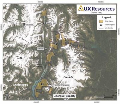 Figure 1. AUX Claims (CNW Group/AUX Resources Corporation)