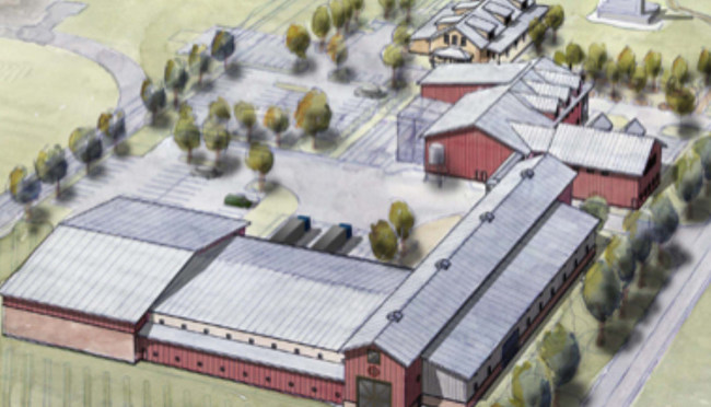 A rendering of the planned 100,000 sq. ft. farmhouse-style facility.