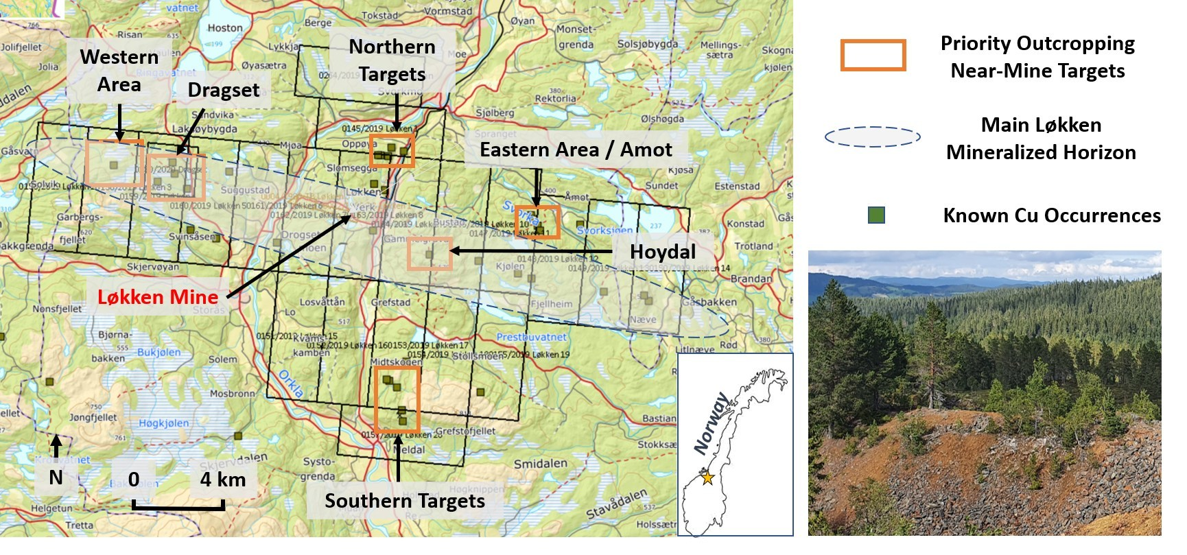 Figure 1: Priority Copper Targets Around at Lokken (CNW Group/Capella Minerals Limited)